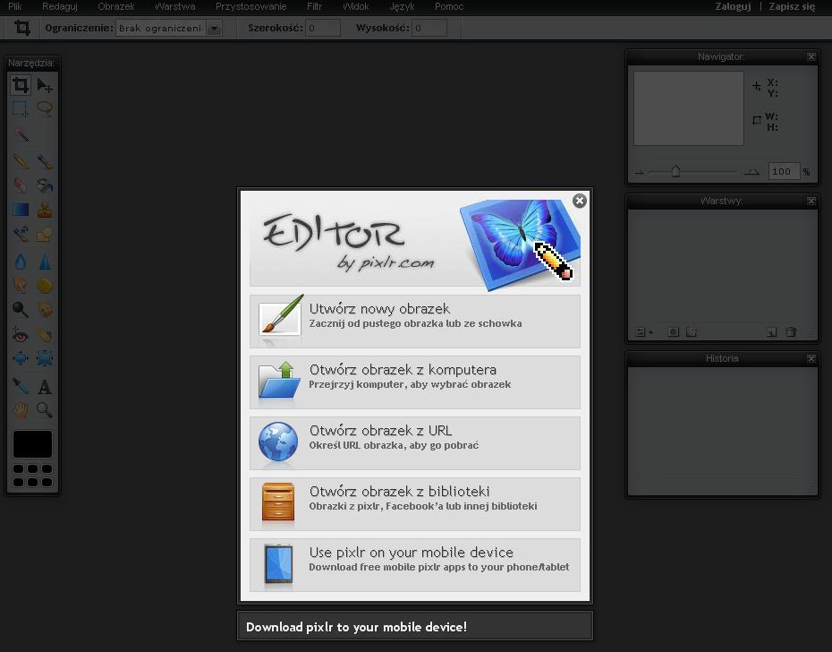 Pixlr Ekran Startowy