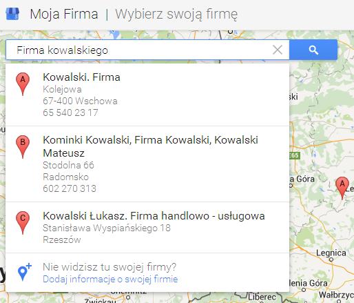Google maps - dodawanie firmy