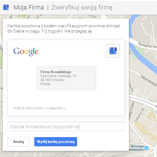 Kartka pocztowa google