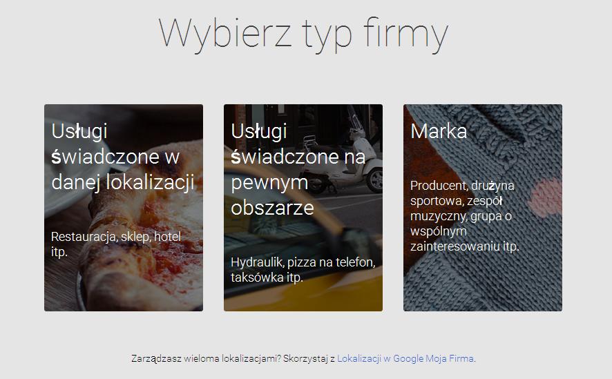 Wybór typu firmy w Google Moja Firma