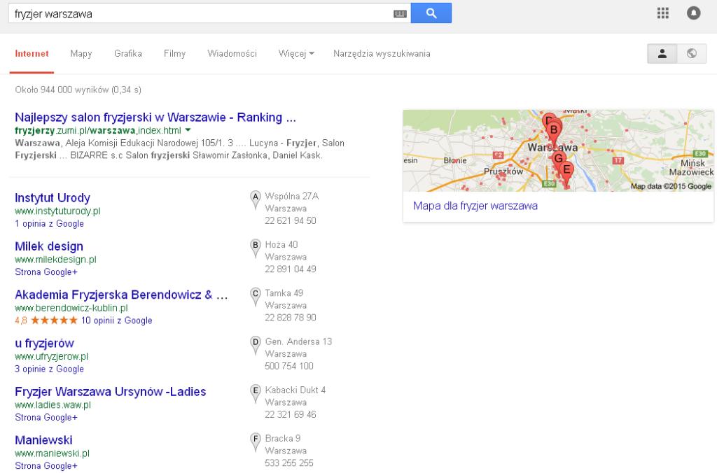 Wyniki lokalne google